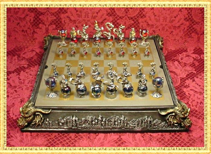 pewter chess set