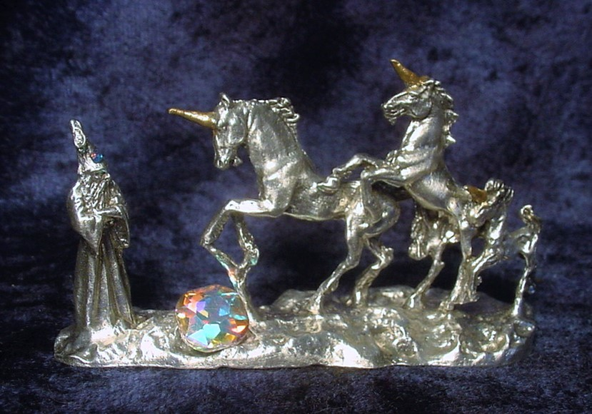 Pewter Unicorns and Wizard