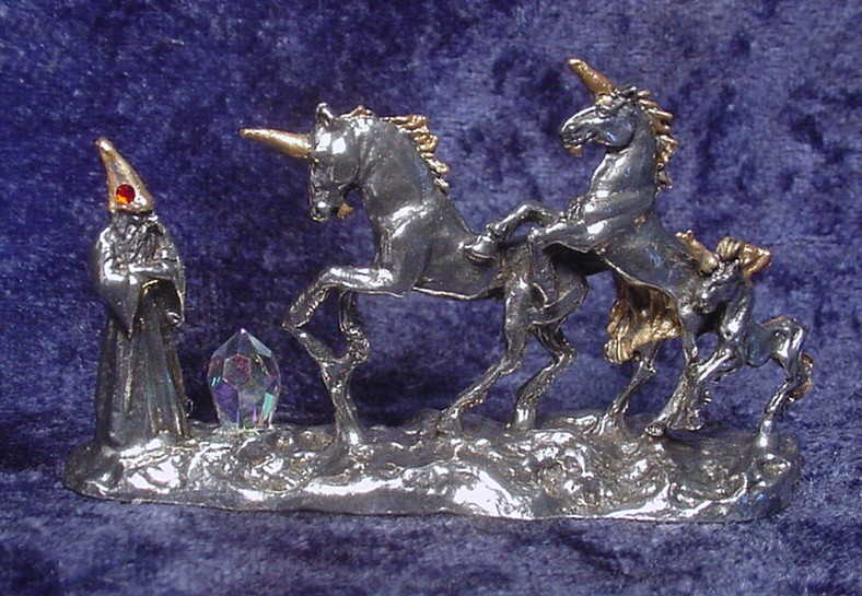 Pewter Unicorn and Wizard